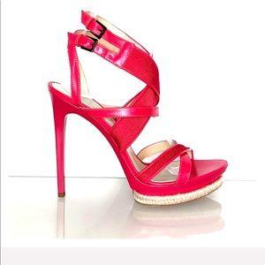 HERVE LEGER *Sera* fuschia bandage sandals 8 9